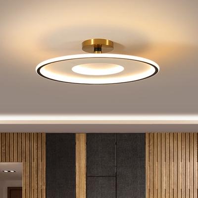 Flat Round Semi Flush Light Modern Acrylic White and Gold/Black and Gold LED Flush Mount in Warm/White Light, 18