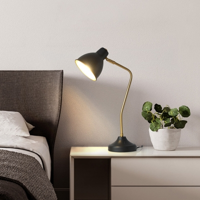 Industrial Dome Shade Table Lighting LED Iron Reading Book Lamp in Black for Bedside