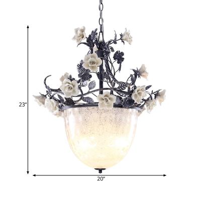 Korean Flower Bowl Hanging Chandelier 4 Lights White Glass Pendant Light Fixture for Dining Room