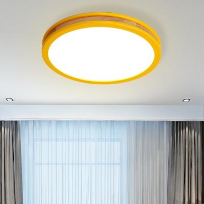 Macaroon Circle Flush Light Fixture Wood LED Bedroom Flush Mounted Lamp in Yellow, 12