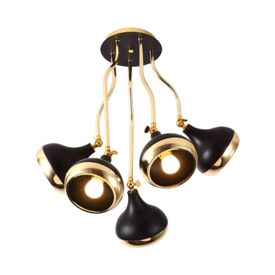 Dome Shade Metal Semi Flush Mount Light Simple 5 Lights Black Finish Ceiling Lighting for Living Room