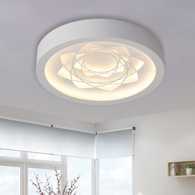 Iron Round Flush Light Fixture Contemporary LED White Ceiling Mounted Lamp in Warm/White Light with Flower Pattern