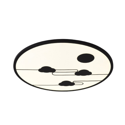 White/Black Round Flushmount Minimalist 18