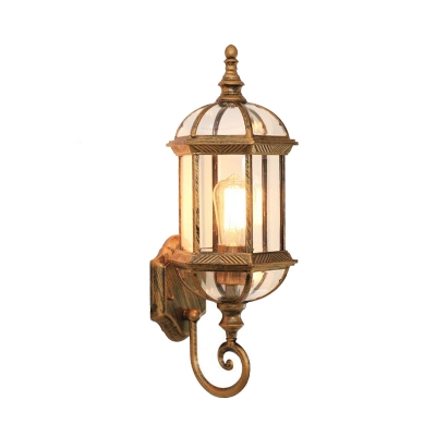 1 Light Birdcage Wall Lighting Country Style Black/Brass Finish Clear Glass Wall Sconce Lamp with Twisted Arm