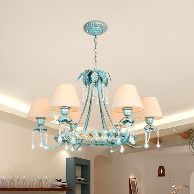 Fabric Blue Chandelier Pendant Light Tapered 3/6-Head Countryside Drop Lamp with Clear Glass Drop
