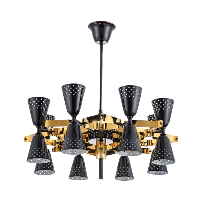 Modernism Cone Metal Chandelier Light Fixture 16 Lights Ceiling Lamp in Black and Gold for Kitchen
