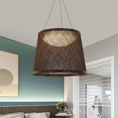 1-Head Kitchne Ceiling Light Modernism Black Finish Pendant Lighting Fixture with Drum Rattan Shade