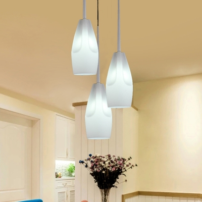 Blown Glass Elongated Dome Cluster Pendant Light Simplicity 3 Lights White Finish Suspension Lighting