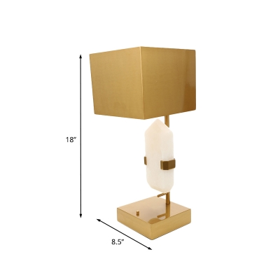 Gold Finish Rectangle Nightstand Lighting Simplicity 1 Head Metallic Table Light with White Stone Design