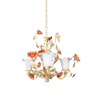 Light Tan Flower Chandelier Lighting Romantic Pastoral White Glass 3 Bulbs Living Room Suspension Pendant