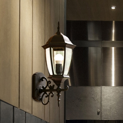 Rustic Pinecone Wall Sconce 1 Light Clear Glass Wall Mount Fixture in Black/Bronze for Outdoor
