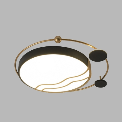 Drum Iron Ceiling Flush Mount Modernism White and Black/Gold and Black LED Flush Lamp Fixture with Ring Detail, White/Warm Light