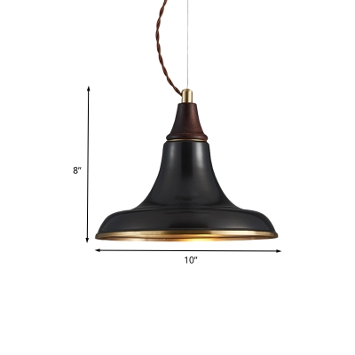 Metal Flare Hanging Light Fixture Vintage 1-Bulb Restaurant Pendant Ceiling Lamp in Black