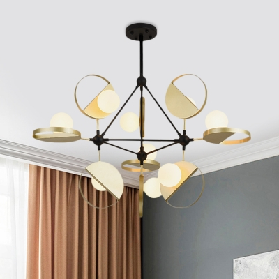 Opal Glass Orb Semi Flush Mount Modernism 9-Light Ceiling Mounted Fixture in Black and Gold with Vertical Design