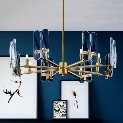 Radial Living Room Chandelier Light Fixture Blue Glass 8-Light Modern Down Lighting in Brass