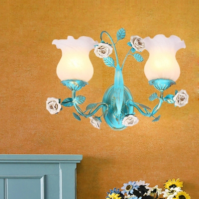 Scalloped Bedroom Wall Mount Light Romantic Pastoral Cream Glass 1/2-Bulb Blue Wall Sconce with Flower Decor