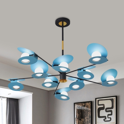 Simplicity Sputnik Ceiling Chandelier Metal 10 Heads Living Room Pendant Light Fixture in Blue