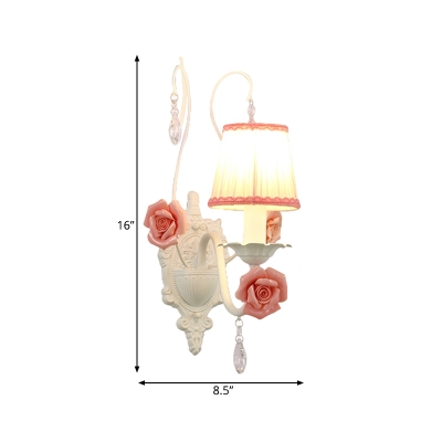 White Conical Wall Light Fixture Korean Flower Fabric 1/2-Light Living Room Wall Lamp with Crystal Draping