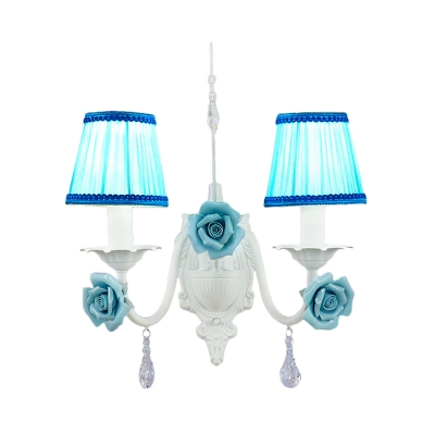 1/2-Head Fabric Sconce Light Pastoral White Pleated Shade Bedroom Wall Lighting with Ceramic Rose Decor