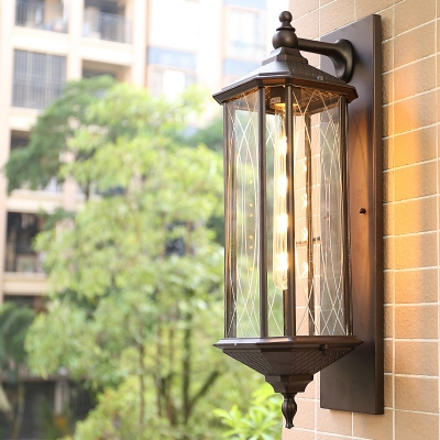 1 Head Wall Light Fixture Farmhouse Lantern Clear Glass Wall Sconce in Coffee/Bronze for Corner