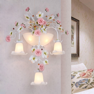5-Bulb Sconce Lighting Pastoral Style Corridor Wall Lamp Fixture with Flower White Glass Shade