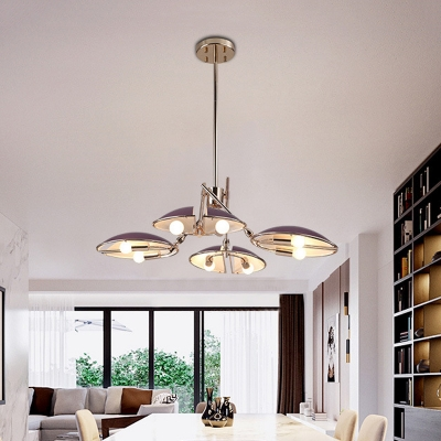 Metal Domed Ceiling Suspension Lamp Minimal 8 Bulbs Purple Finish Chandelier Lighting Fixture