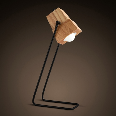 Minimalist Trapezoid Reading Light Wood 1 Light Bedroom Small Desk Lamp in Beige with Metal Frame
