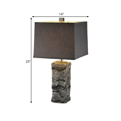 Black Trapezoidal Night Table Lamp Postmodern 1 Bulb Fabric Nightstand Light with Rugged Marble Base