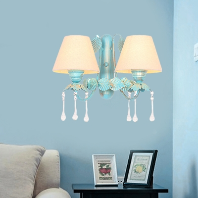 Cone Living Room Sconce Lamp Countryside Fabric 1/2-Head Blue Wall Light Fixture with Dangling Crystal