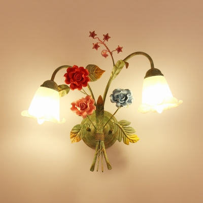 Green 1/2-Head Wall Sconce Light Romantic Pastoral Opal Glass Floral Wall Mounted Lamp for Bedroom