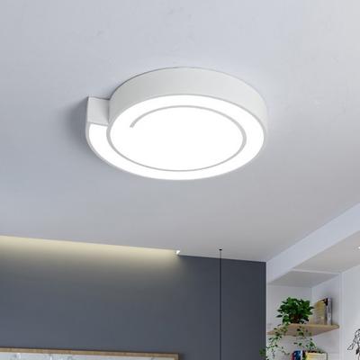 Modern Nordic LED Flush Lighting White/Black Circle Ceiling Flush Mount with Metal Shade in Warm/White Light, 18