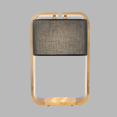 Rectangle Fabric Night Lighting Modernism LED Black Finish Table Lamp with Metal Frame
