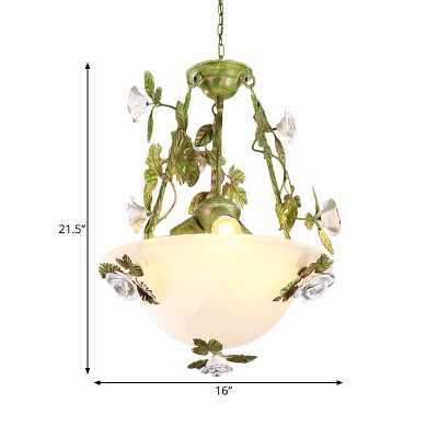 White Glass Bowl Ceiling Chandelier Korean Flower 2/3 Bulbs Living Room Hanging Pendant Light
