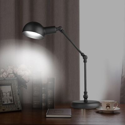 Black Finish LED Reading Book Light Farmhouse Metallic Domed Table Lamp with Swing Arm