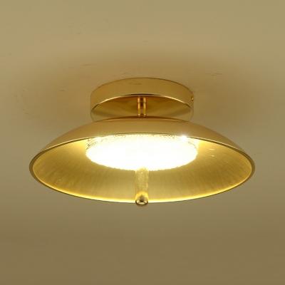 Dome Dining Room Flushmount Lighting Metal 1-Bulb Simplicity Flush Ceiling Light in Gold