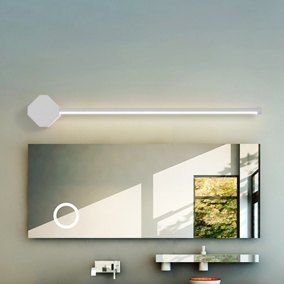Slim Linear Wall Sconce Simple Acrylic Bathroom LED Vanity Lighting Fixture in Black/White, 16