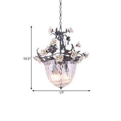Clear Dimple Glass Bowl Chandelier Korean Garden 3/4 Heads Kitchen Pendant Lighting with Flower Decor