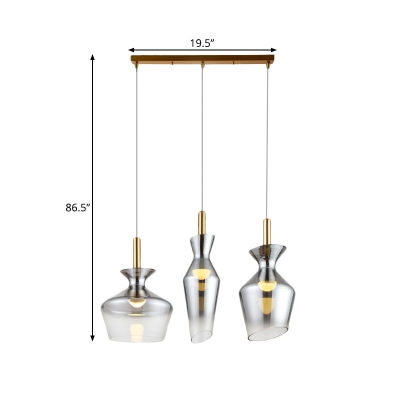 Geometric Smoke Gray Cluster Pendant Light Minimalist 3-Bulb Brass Finish Down Lighting with Linear Canopy