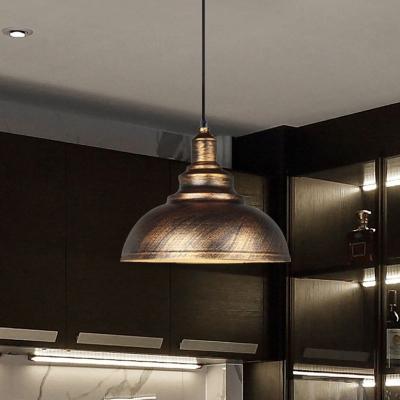 Iron Domed Hanging Lighting Farmhouse 1-Head Restaurant Suspended Pendant Lamp in Black/Bronze
