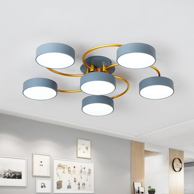 Simple Round Semi Mount Lighting Metal 6 Heads Bedroom Ceiling Light Fixture in Blue with Spiral Design