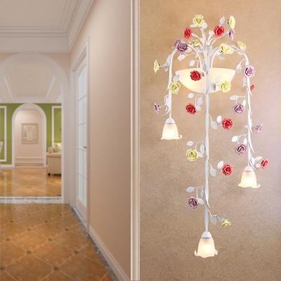 White Glass Flower Wall Sconce Korean Garden 5 Lights Hallway Wall Mount Light Fixture