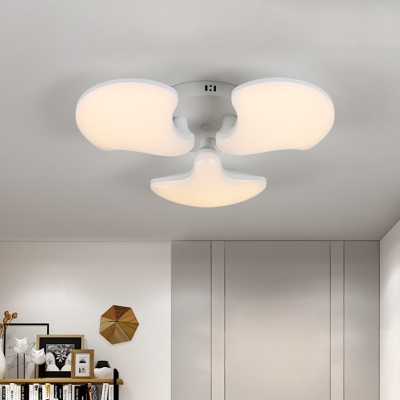 Acrylic Shell Flush Mount Lighting Modernism 3/5 Heads LED Ceiling Flush in White, 23.5