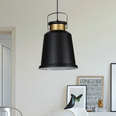 Black Finish Bell Hanging Light Kit Industrial Aluminum 1 Light Coffee House Handle Pendant