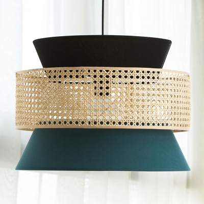 Fabric Hourglass Pendant Light Fixture Modernism 1 Head Hanging Lamp Kit in Black and Blue with Drum Rattan Detail