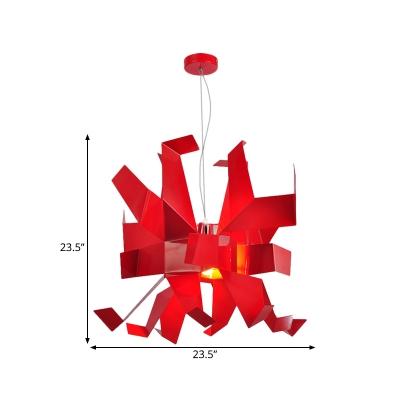 Red Finish Paper Crane Pendant Light Fixture Contemporary 1-Head Metallic Hanging Lamp Kit