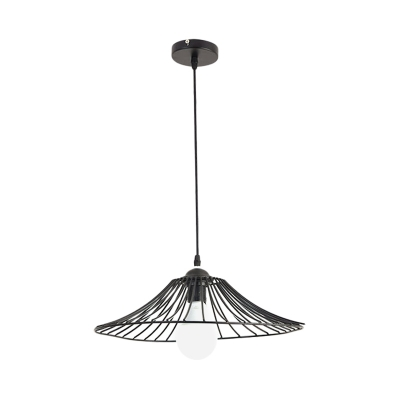 Simplicity Conical Metallic Hanging Lamp 1 Light Drop Pendant in Black for Dining Room