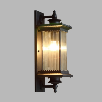 1-Light Wall Sconce Farmhouse Outdoor Wall Mounted Lamp with Cuboid Clear Ribbed Glass Shade in Black/Bronze/Coffee