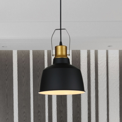 Aluminum Black Finish Pendant Lamp Bell 1-Bulb Farmhouse Down Lighting with Handle over Dining Table