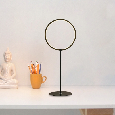 Circular Bedroom Night Lamp Metallic 1 Bulb Contemporary Table Lighting in Black with Base