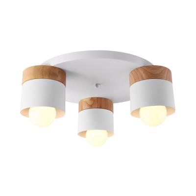 Drum Flush Mount Lighting Minimalist Metal 3 Lights White Finish Ceiling Mounted Light for Bedroom